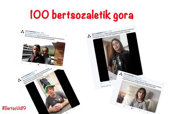 100 bertsozaletik gora #BertsoVid19 bertsokatean