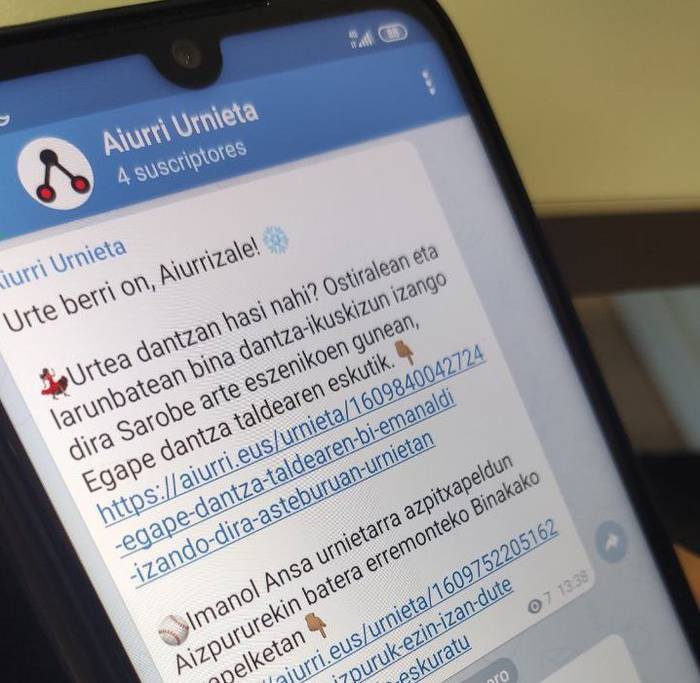 Aiztondoko, Urnietako eta Andoaingo albisteak jasotzeko Telegram kanaletara batu zaitez