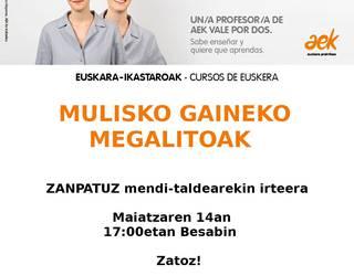 AEK-k irteera antolatu du Urnietako Mulisko Gaineko megalitoetara