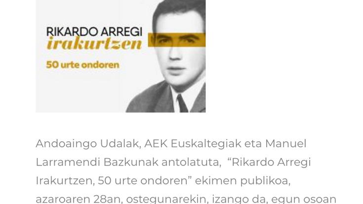 Aitor Mendiluzeren bertsoa eta 60. hamarkadan euskaraz alfabetatzeari ekin zioten herritarrei omenaldia