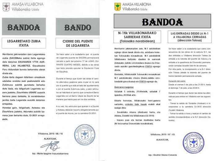 Amasa-Villabonako udal gobernuaren oharra