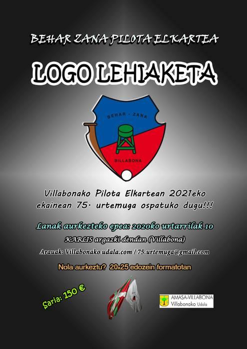 Logo lehiaketa, Behar Zana pilota elkartearen 75. urteurrenaren harira
